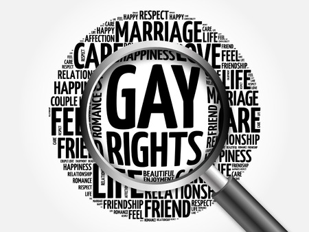 Gay rights word cloud with magnifying glass, business concept 3D illustration