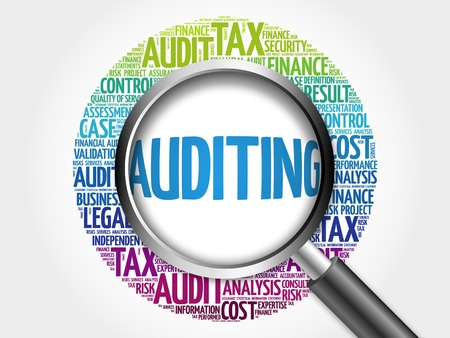 auditing: AUDITING word cloud with magnifying glass, business concept 3D illustration Stock Photo