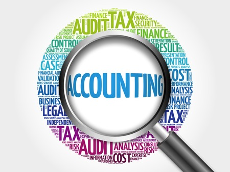 total loss: ACCOUNTING word cloud with magnifying glass, business concept 3D illustration Stock Photo