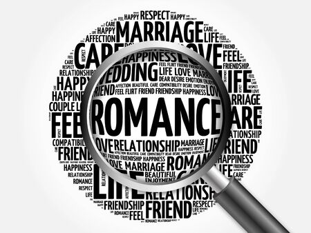 cherish: Romance word cloud with magnifying glass, social concept 3D illustration Stock Photo