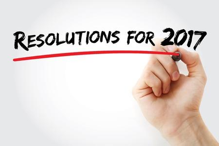 Escritura de la mano de la Resolución 2017 con el marcador, el concepto de fondo