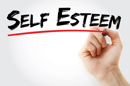 self worth: Hand writing Self Esteem with marker, concept background