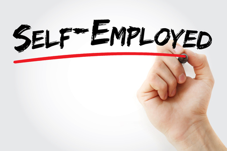 selfemployed: Hand writing Self-Employed with marker, concept background