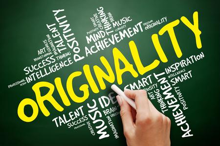 originality: Originality word cloud, business concept on blackboard Stock Photo
