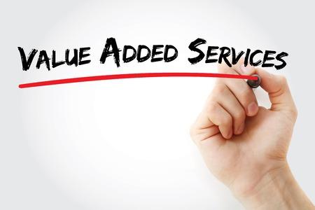 Handschrift Value Added Services mit Marker, Konzept Hintergrund