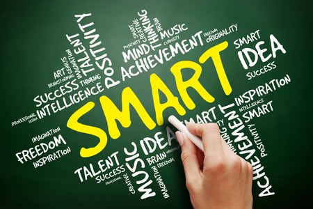 SMART word cloud, business concept on blackboard