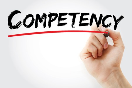 proficient: Hand writing Competency with marker, concept background