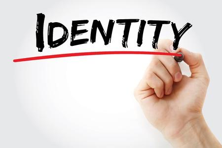 authorisation: Hand writing Identity with marker, concept background Stock Photo