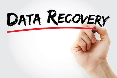 data recovery: Hand writing Data Recovery with marker, concept background