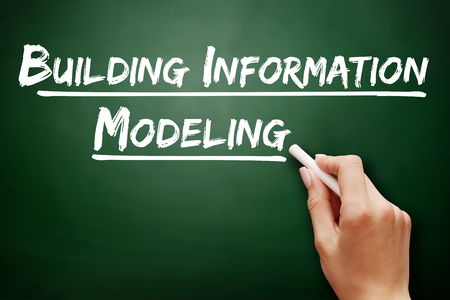decisionmaking: Hand writing building information modeling, business concept on blackboard
