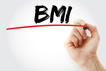 BMI: Hand writing BMI - Body Mass Index with marker, concept background Stock Photo