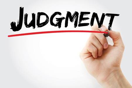 belief systems: Hand writing Judgment with marker, concept background Stock Photo