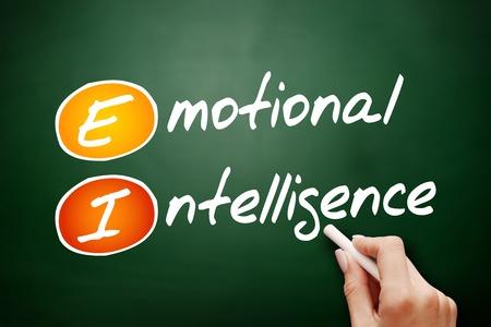 decreased: Hand drawn EI - Emotional Intelligence, business concept on blackboard