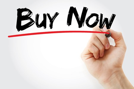 eshop: Hand writing BUY NOW with marker, concept background Stock Photo