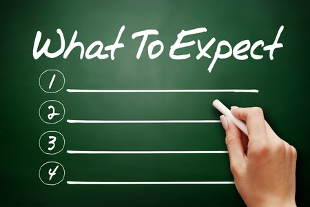 expect: Hand drawn What To Expect, business concept on blackboard Stock Photo