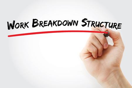 contributors: Hand writing Work Breakdown Structure with marker, concept background