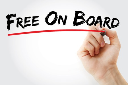 free enterprise: Hand writing Free On Board with marker, concept background Stock Photo