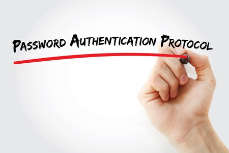 authentication: Hand writing Password Authentication Protocol with marker, concept background Stock Photo
