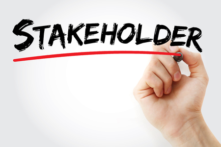 stockholder: Hand writing Stakeholder with marker, concept background Stock Photo
