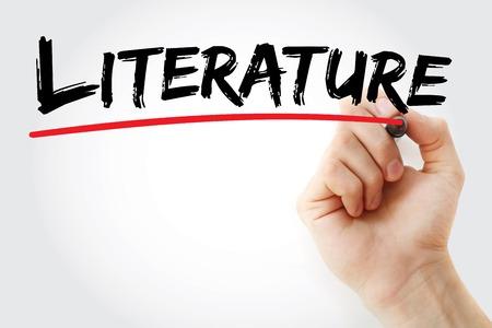 memoir: Hand writing Literature with marker, concept background Stock Photo