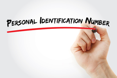 personal identification number: Hand writing Personal Identification Number with marker, concept background