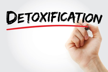 detoxification: Hand writing Detoxification with marker, concept background