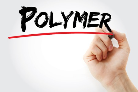 polycarbonate: Hand writing Polymer with marker, concept background