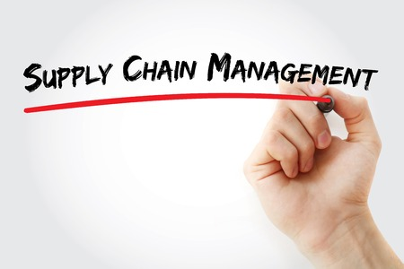 variance: Hand writing Supply Chain Management with marker, concept background Stock Photo