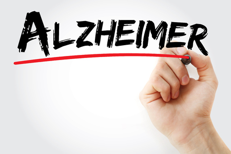 delusional: Hand writing Alzheimer with marker, concept background