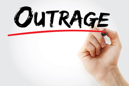 outrage: Hand writing Outrage with marker, concept background