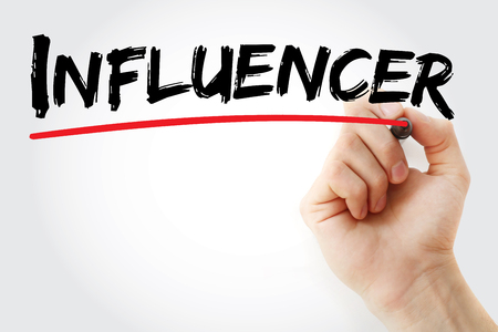 influencer: Hand writing Influencer with marker, concept background