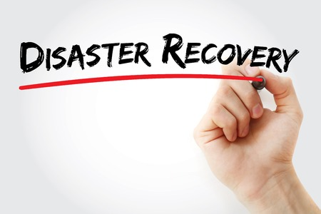 iscp: Hand writing Disaster recovery with marker, concept background Stock Photo