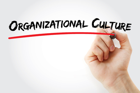 Hand writing Organizational Culture with marker, concept background