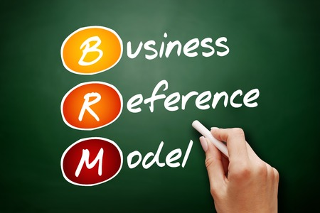 affiliation: Hand drawn BRM - Business Reference Model, acronym business concept on blackboard