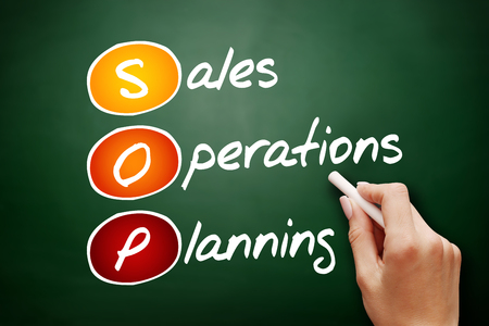 Hand drawn SOP - Sales and Operations Planning, acronym business concept on blackboard
