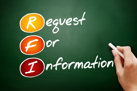 Hand drawn RFI - Request For Information, acronym business concept on blackboard Stock Photo