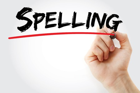 Hand writing Spelling with marker, concept background Stock Photo