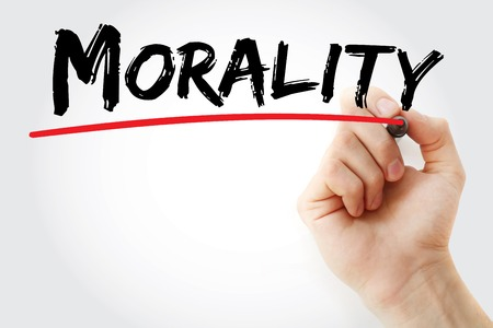 morality: Hand writing Morality with marker, concept background