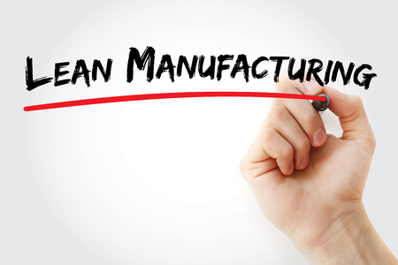 lean machine: Hand writing lean manufacturing with marker, concept background