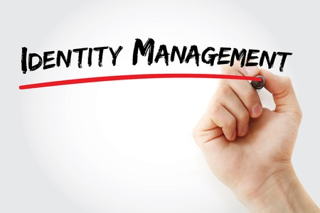 Hand writing identity management with marker, concept background Stok Fotoğraf