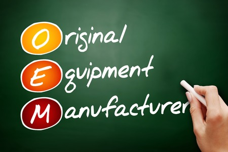strongest: Hand drawn OEM Original Equipment Manufacturer, business concept on blackboard