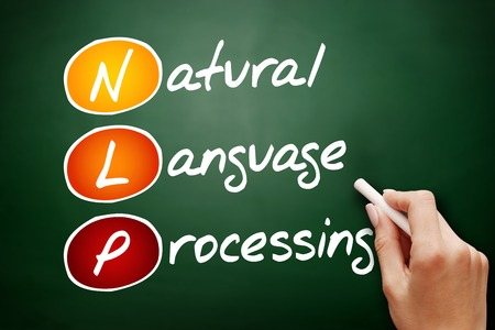 Hand drawn NLP Natural Language Processing, technology business concept on blackboard