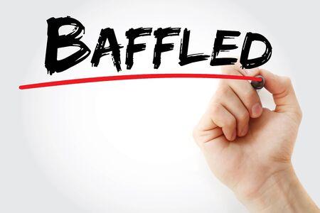 baffled: Hand writing Baffled with marker, concept background