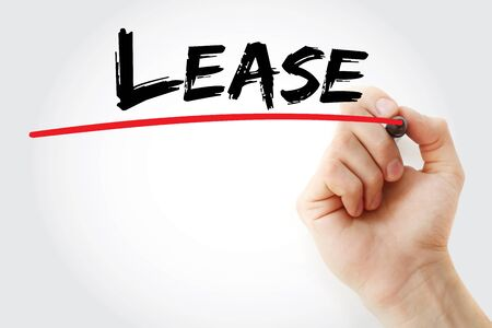 renting: Hand writing Lease with marker, concept background
