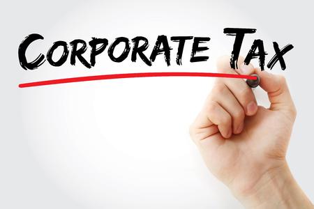 手書きの企業税のマーカーが、概念の背景