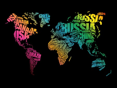 word: World Map in Typography word cloud concept, names of countries