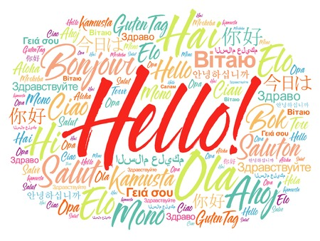 meet and greet: Hello word cloud in different languages of the world, background concept Illustration