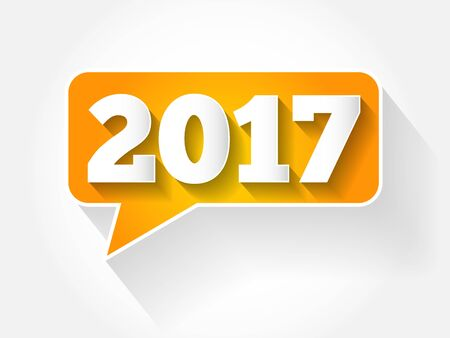 New Year 2017 message bubble, vector background