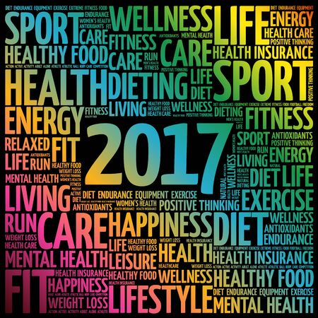 inspiring: 2017 word cloud collage, health concept background
