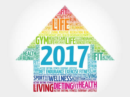 2017 Goals arrow health word cloud, health arrow concept
